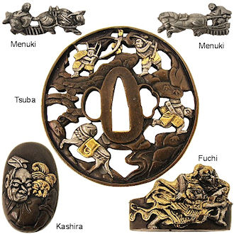 MF6034 - Handmade Warrior Tsuba & Furniture Set