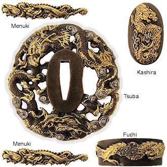 MF6031 - Handmade Dragon Tsuba Sword Furniture Set